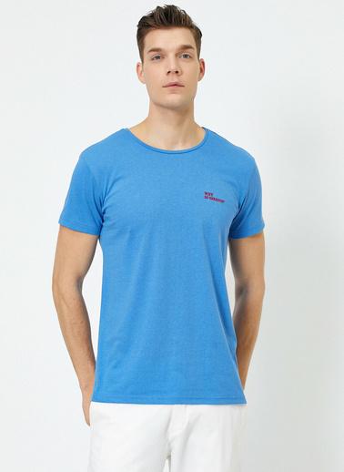 Koton Bisiklet Yaka Kisa Kollu Baskılı T-Shirt Mavi